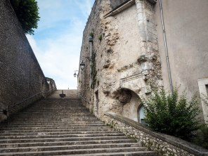 Stairs up through the old city walls.