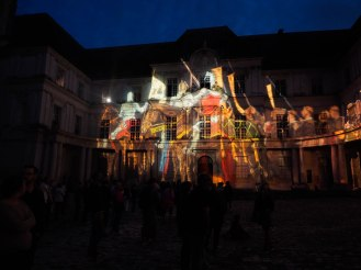 Magical sound and light show in the castle courtyard