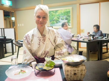 Because of course you wear your dressing gown to dinner (aka yukata)