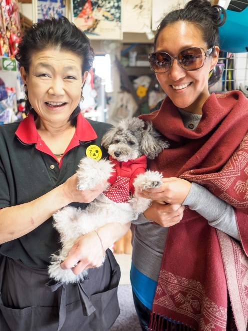 Mama Shiba (mother to Japanese snowboard champ Masake - yes, I'm now a groupie) and the beloved Poohta (Pooh Bear + Santa)